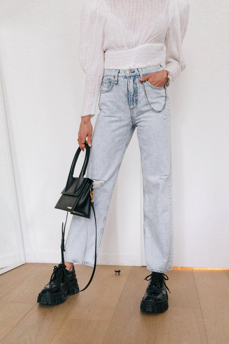 HIGH-RISE STRAIGHT DENIM + DETACHABLE CHAIN Jeans KURE