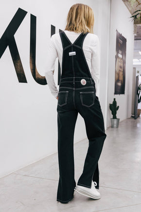 CONTRASTED DETAIL BLACK DUNGAREE Jumpsuit KURE