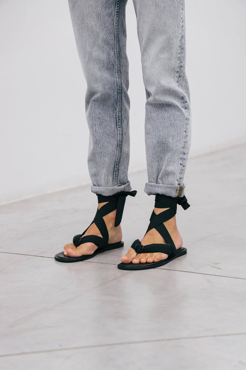 RECYCLED TECH FABRIC SANDAL GANNI