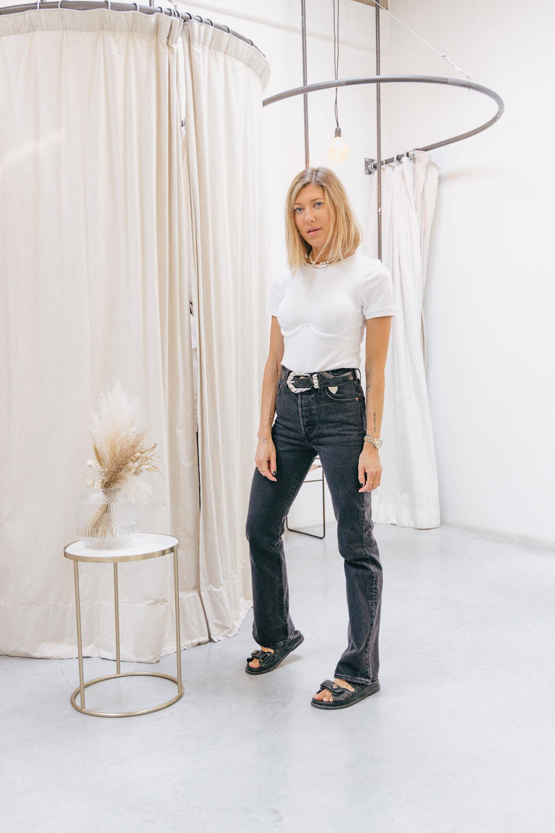 CECILIE BODYSUIT TEE IN WHITE TOP KURE