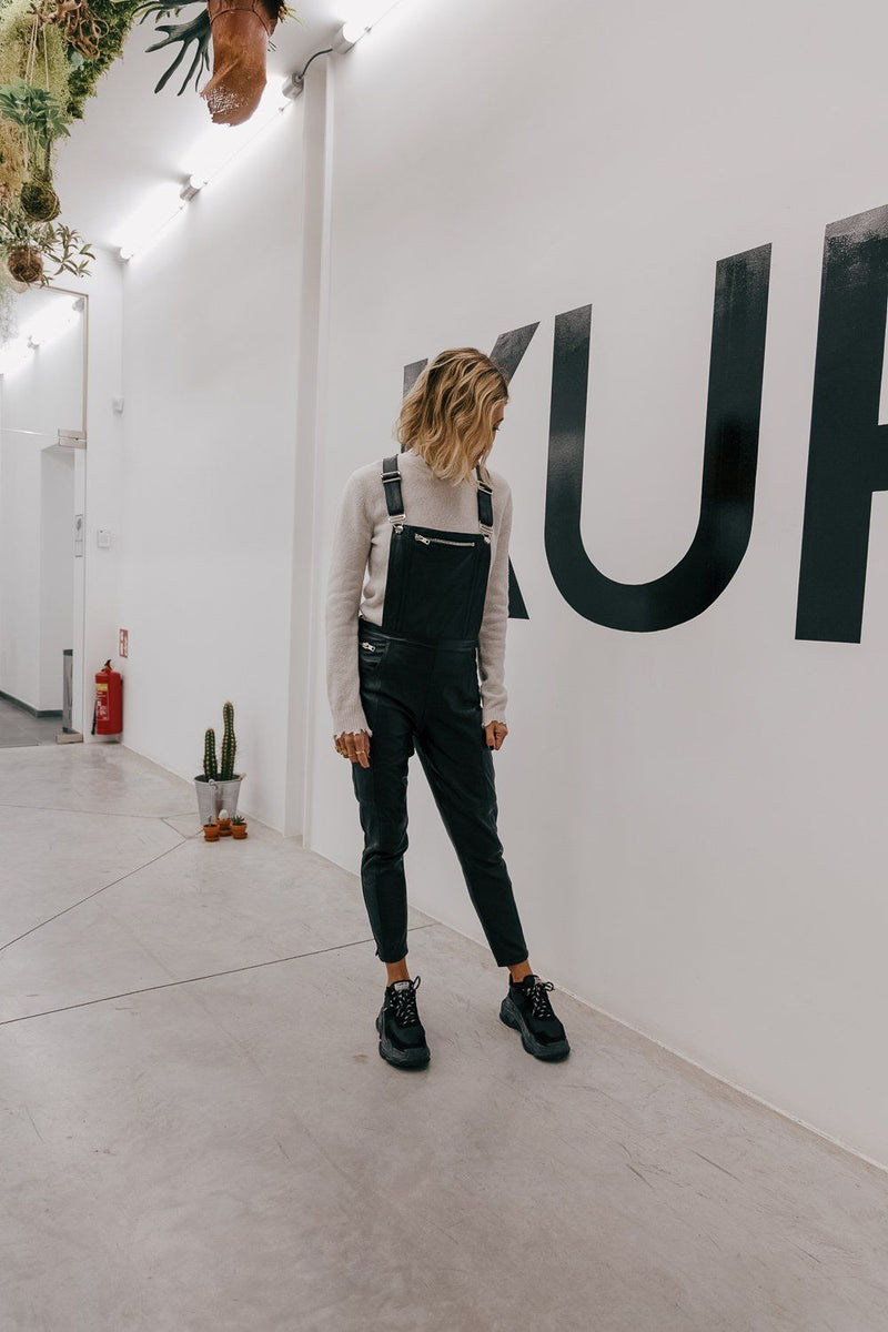 THE LEATHER DUNGAREE Jumpsuit KURE
