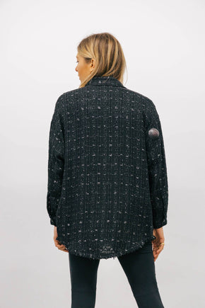 IRO MINKO OVERSHIRT BLACK SILVER/GREY DIAMOND SHIRT KURE