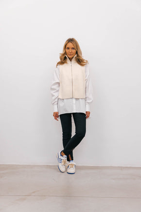 JF-GORMZIP-VEST-OFF WHITE Knit JUST FEMALE