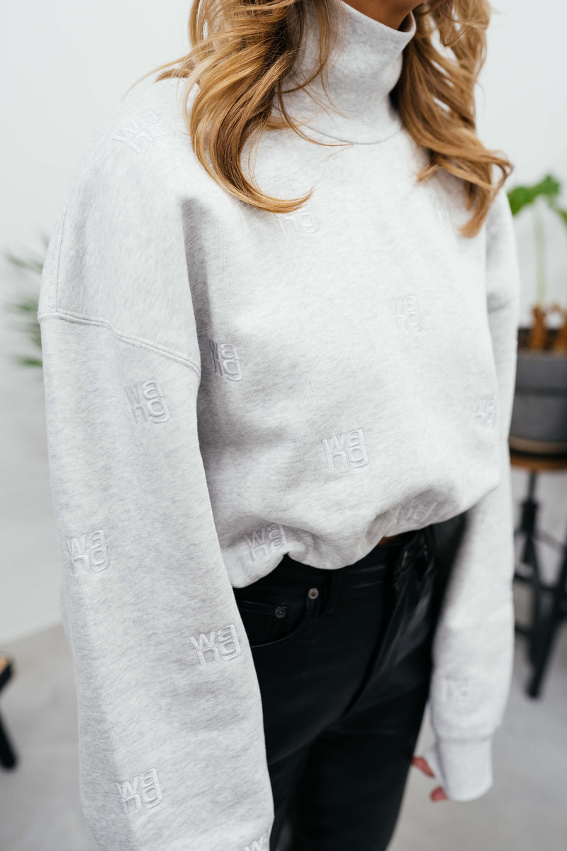 LOGO EMBROIDERED SWEAT GREY sweatshirt KURE