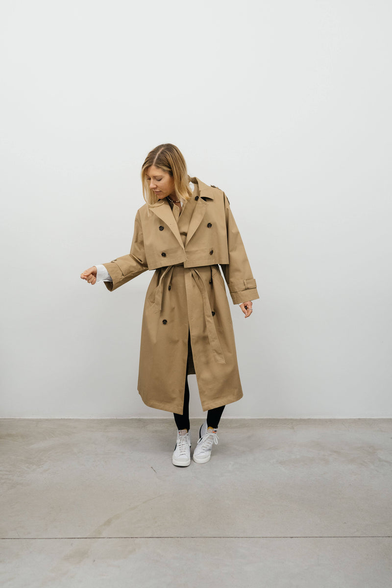 ONE&OTHER-TWIN trench coat-Camel coat ONE & OTHER