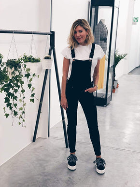 Black Denim Slim Dungaree