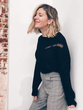 Cut Out Black Knit Sweater