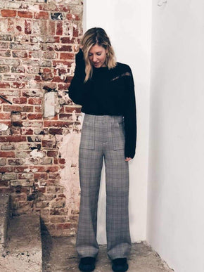 High Rise Checkered Pants