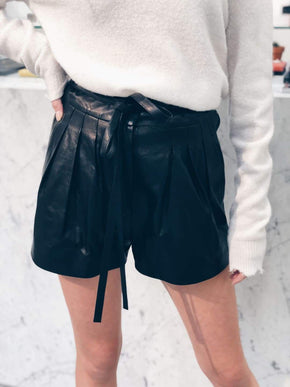 High Waisted Leather Shorts