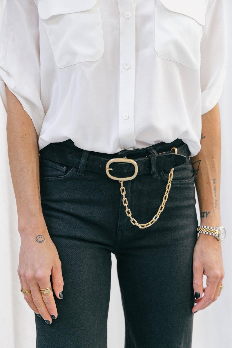 SUEDE BELT WITH GOLD CHAIN Belts KURE