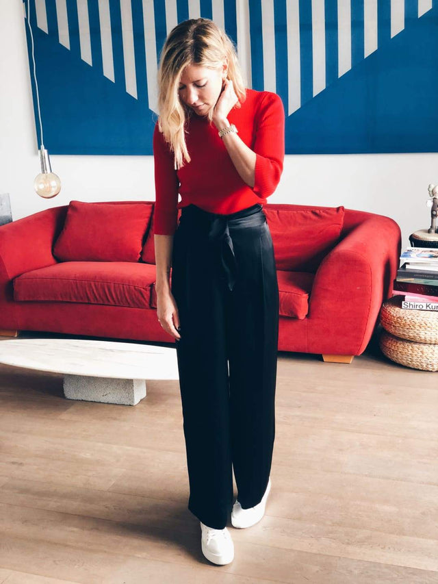 Red Knit Cropped Sleeve - Knit