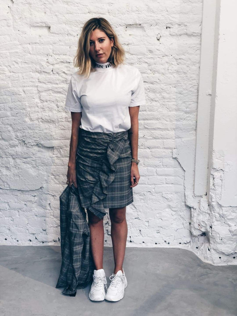 Ruffle Checkered Skirt