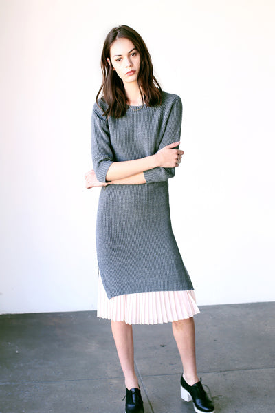 Cecilia Sweater Dress Light Grey