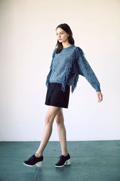 Agnes Fringe Sweater Ocean Blue