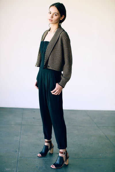 Louisa Cropped Cardigan Blacksand