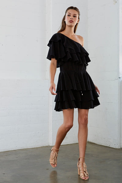 Maelee One Shoulder Ruffle Dress Black SOLD OUT