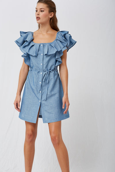 Zena Ruffle Chambray Dress SOLD OUT