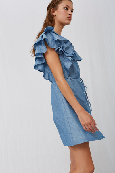 *Zena Ruffle Chambray Dress*