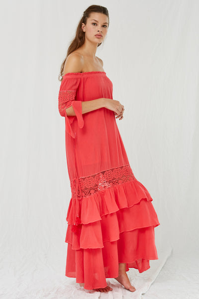 Maurina Off the Shoulder Maxi Red SOLD OUT