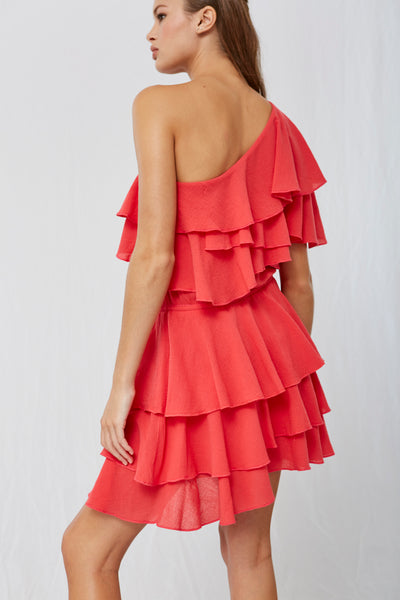 Maelee One Shoulder Ruffle Dress Red SOLD OUT