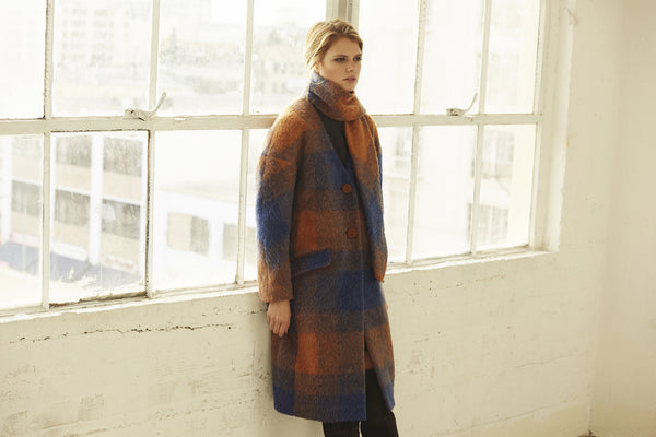 Margo Mohair Plaid Coat