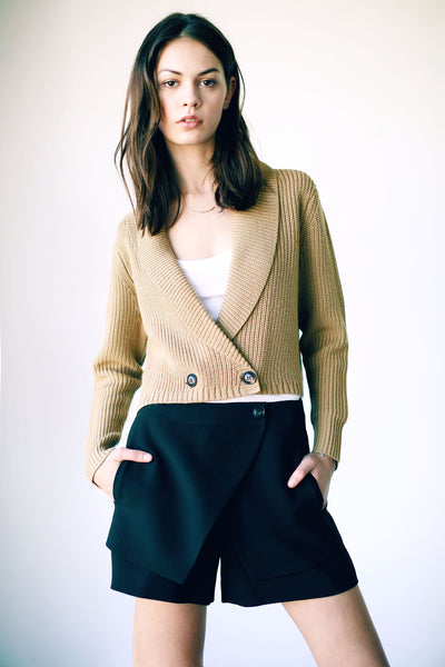 Louisa Cropped Cardigan Camel