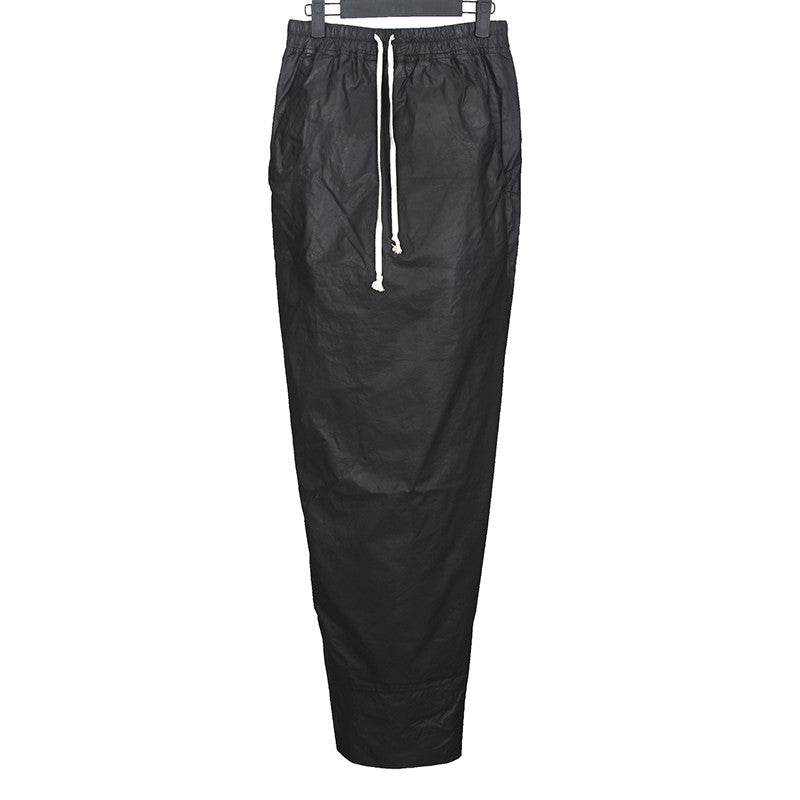 RICK OWENS WAXED COTTON POPLIN LONG DRAWSTRING SKIRT
