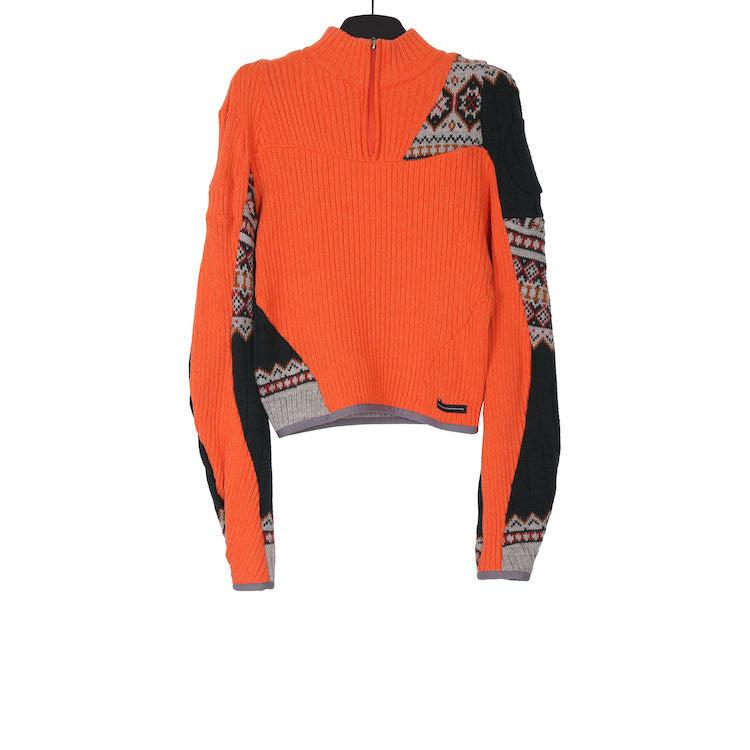 GMBH AW18 Orange knitted stitching zipper turtleneck sweater