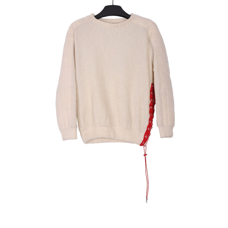 KANGHYUK AW18 OFF WHITE COTTON SIDE CUT KNIT JUMPER