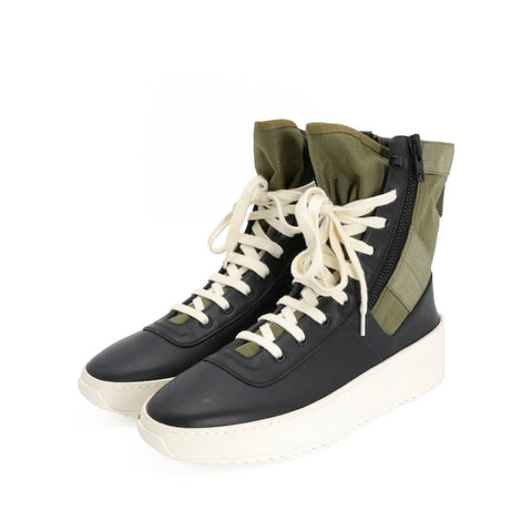 FEAR OF GOD LACE UP HIGH TOP JUNGLE SNEAKER WITH ZIPPER DETAIL