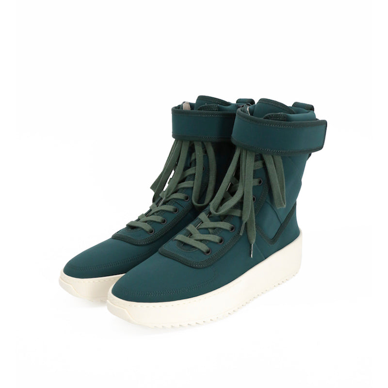 FEAR OF GOD NYLON LACE UP HIGH TOP MILITARY SNEAKER WITH ANKLE STRAP