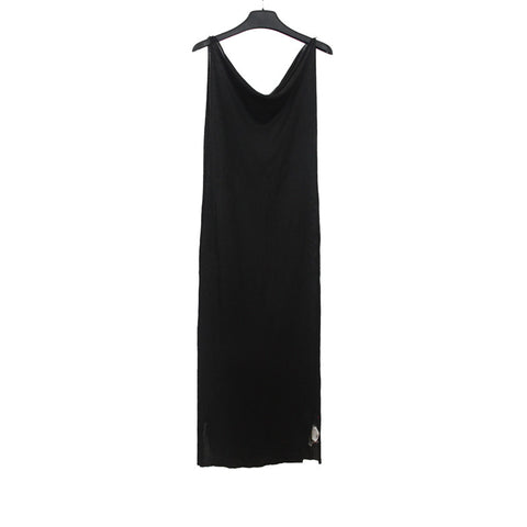 M.A+ BY MAURIZIO AMADEI RAMIE EXTRA LONG SLIP ON DRESS WITH SILVER BEE DETAIL