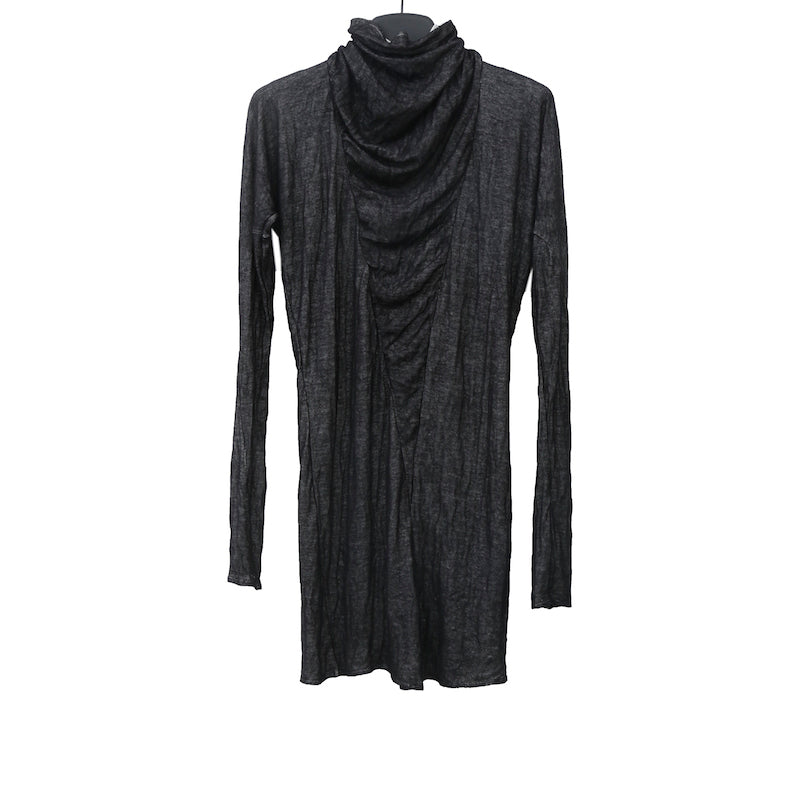 INAISCE BLACK VISCOSE WILTING HIGH NECK LONG SLEEVE PULLOVER
