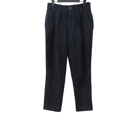 ARTS AND SCIENCE NAVY AND WHITE STRIPED WOOL HIGH WAIST TROUSERS