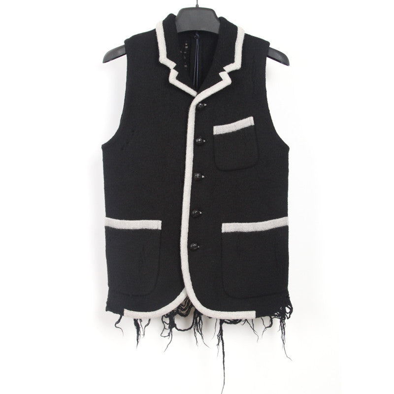 MIHARAYASUHIRO WOOL KNIT DESTROYED VEST