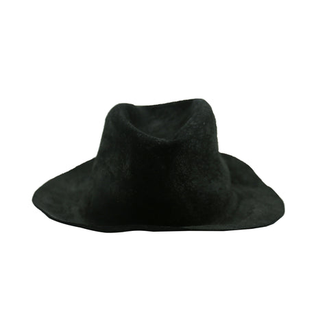 HORISAKI BLACK BURNED RABBIT FUR PELT BRIMMED HAT