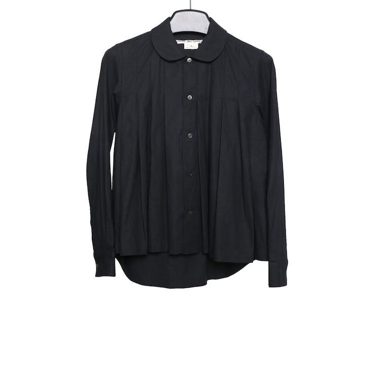 COMME DES GARCONS CLUB COLLAR COTTON PLEATED SHIRT
