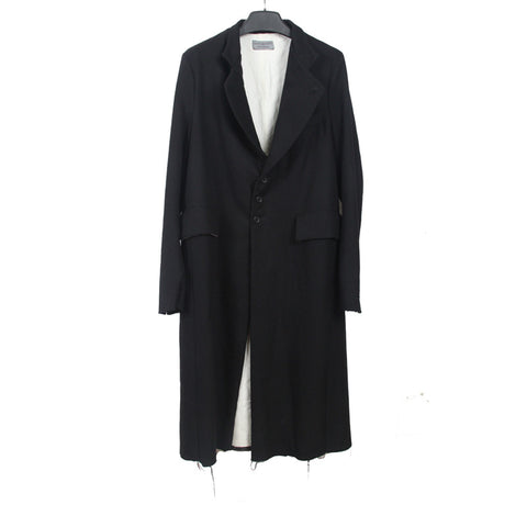 ELENA DAWSON WOOL CLASSIC STAND COLLAR RAW EDGE LAYERED COAT