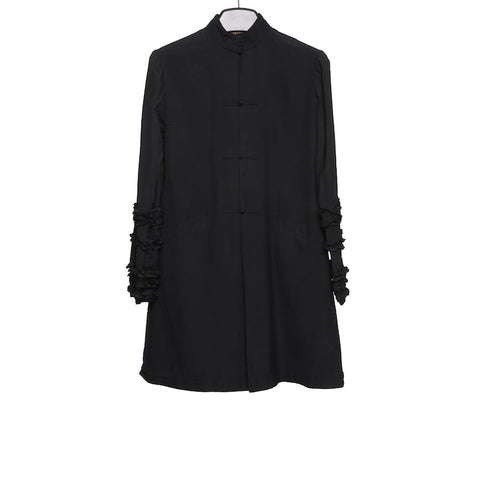 COMME DES GARCONS QUILTED BRAIDED BUTTON COTTON LONG SHIRT