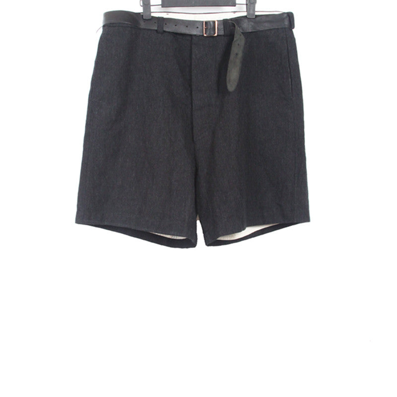 PAUL HARNDEN WOOL LINEN BLEND BELTED DOUBLE LAYER SHORTS