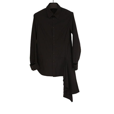 YOHJI YAMAMOTO + NOIR BLACK COTTON BUTTON UP SHIRT WITH TWO SIDE CUTOUT DETAIL