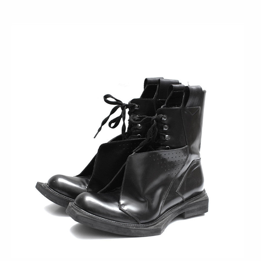 KIROIC AW11 LEATHER BOOT W/ ASSYMETRIC OUTSOLE & HORSEHAIR PANEL