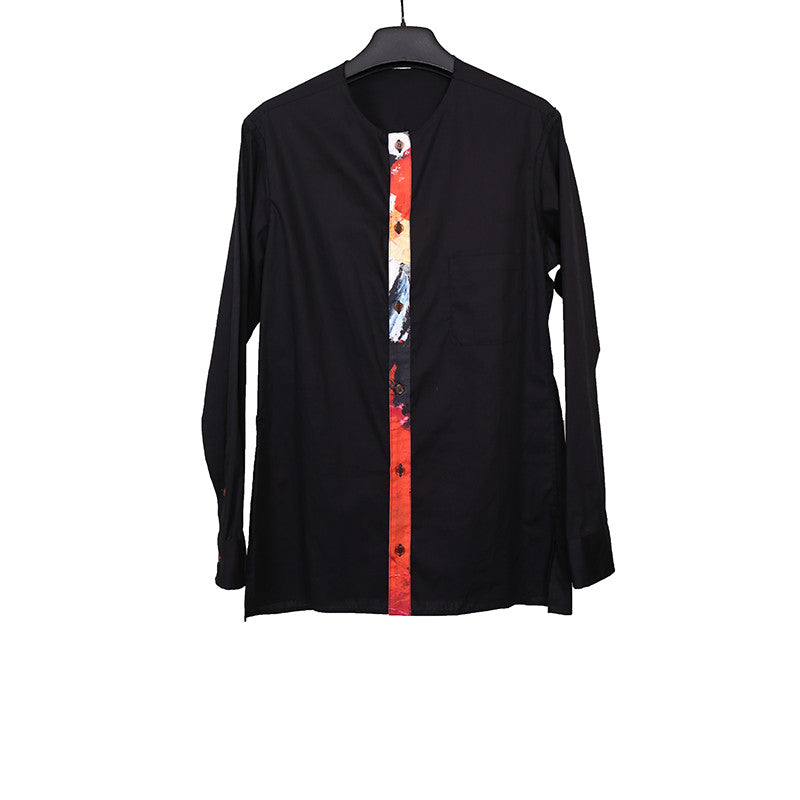 YOHJI YAMAMOTO 16SS BUTTON DOWN COLLARLESS SHIRT WITH MID BRUSH STROKE PAINT TAP