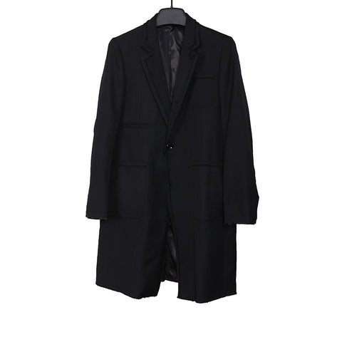 UNDERCOVER 15AW RAW EDGE SINGLE BUTTON CLOSURE WOOL COAT