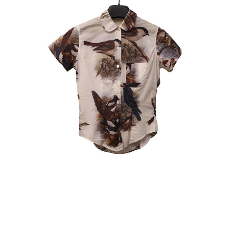 PAUL HARNDEN SHOEMAKERS 'BIRDS' PRINT  COTTON ROUND COLLAR SHIRT WITH SHORT SLEEVES