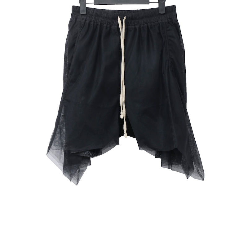 "RICK OWENS SS15 ""FAUN"" BLACK POLIAMMIDE TULLE SHORTS"
