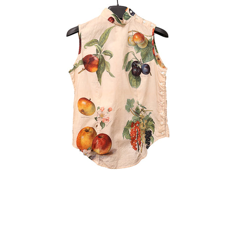 PAUL HARNDEN SHOEMAKERS 16SS 'FRUIT' PRINT COTTON SLEEVELESS BLOUSE WITH 4 BUTTONS ON SHOULDER