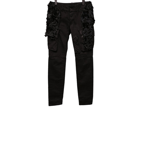 "JULIUS AW09 ""7TH MORNING""COTTON TROUSERS WITH TWO REMOVABLE FURS"