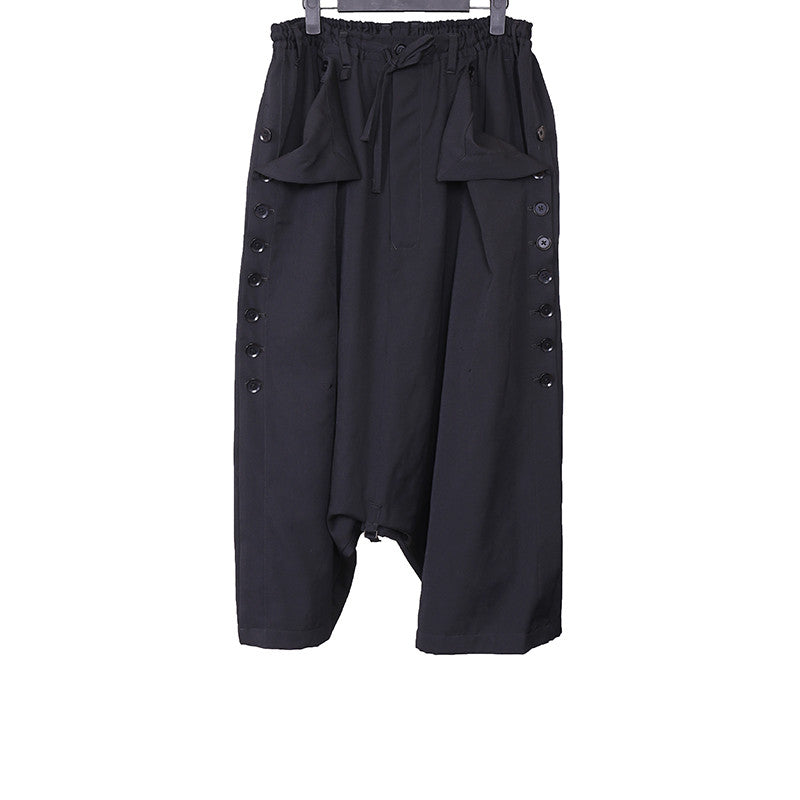 YOHJI YAMAMOTO POUR HOMME 15SS LAINE WOOL SIDE BUTTON DOWN DROP CROTCH CROPPED PANTS