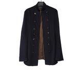 GEOFFREY B. SMALL NAPOLEON DOUBLE BREASTED WOOL JACKET WITH STRIPED PRINT LINING INNER